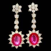 Black Friday1.65ct Natural Round Diamond Ruby 14k Yellow Gold Screw Back Earring