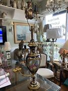 Antique Single Blue And Gold French Porcelain Table Lamp