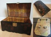 Vintage Chinese Laquered Trunk Wood Storage Box Hand Painted Brass Hardware 1974