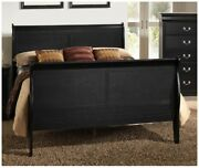 1pc Queen Size Bed Curved Headboard Footboard Rails Black Finish Wooden Frame