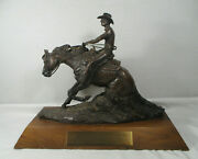 Bronze Statue Signed Morrison Ncrha Red Horse Ranch Show 2 Fergus Falls Mn