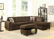 79 X 33 X 36 Chocolate Velvet Reversible Sectional Sofa With Pillows