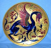 Very Rare Extraordinary Zsolnay Decorative Wall Plate With Dragon - Hungarian