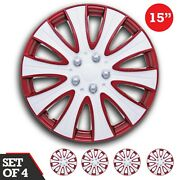Set Of 4 Hubcaps 15 Swiss Drive Wheel Cover Andldquotampaandrdquo Red And White Abs Universal