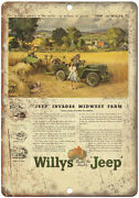 Jeep Willys Overland Universal 4x4 Farm Jeep - 10 X 7 Reproduction Metal Sign