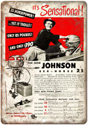 Johnson Sea Horse 25 Outboard Motor Vintage 10 X 7 Reproduction Metal Sign L68