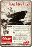 Johnson Sea Horse 25 Outboard Motor Vintage 10 X 7 Reproduction Metal Sign L69