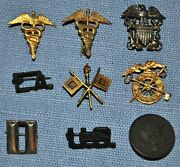 Lot Of 9 Wwii Era Sweetheart Pins - Signal Corps, Medical, Qm, Usn And More...
