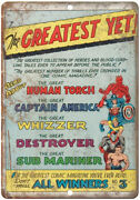 Human Torch Captain America Whizzer Comic 10 X 7 Reproduction Metal Sign J113