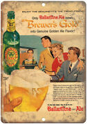 Ballantine Ale Brewerand039s Gold Vintage Beer 10 X 7 Reproduction Metal Sign E252