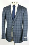 1695 Canali 1934 Kei Jacket Blue Check Wool Unstructured Coat 44 L Fits 42 L