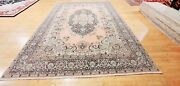 Antique 1940-1950and039s Distressed Wool Pile Old Pink Color Oushak Area Rug 9x12ft