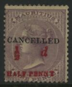 Mauritius Mint 45 Ng Red 1/2 Penny Cancelled Great Stamp Nice Centering