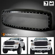 For 2006-2008 Dodge Ram 1500 2500 3500 Black Rivet Style Wire Mesh Grille+shell