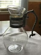 Vintage Silver Plate And Glass Water Wine Pitcher Carafe With Ornate Handle