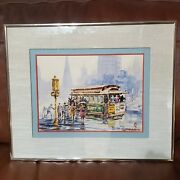 C1980 San Francisco Trolley Watercolor Sun Ying Listed Chinese American Artist