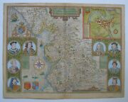 Lancashire Antique Map By John Speed 1610 1676 Edition