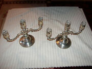 Pair Fisher Sterling Silver Weighted Candelabra Tulip Form 8 Tall 2 Arm Vintage