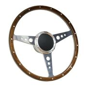 13 Wood Boat Steering Wheel With Adapter 3 Spoke With 3/4 Tapered Key Marine