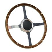 Wood Boat Steering Wheel With Adapter 4 Spoke With 3/4 Tapered Key Marine