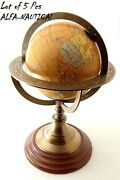 Antique Solid Brass World Map Desk Globe With Wooden Base Desk Decor Lot Of 5