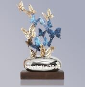 Western Art Deco Bronze Painted Butterfly Hovered Flutter Abstract Sculpture