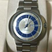 Auth Omega Watch Geneve Dynamic Antique 1970s Self-winding Blue Silver Mens F/s