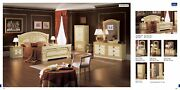 Esf Aida Ivory And Gold Finish Queen Size Bedroom Set 6 Pieces Made In Italy
