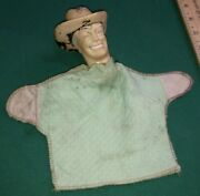 Antique Vintage Very Rare Hand Puppet Roy Rogers Rubber Head Cloth Bottom