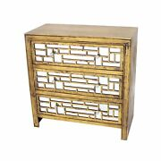 Wood And Mirror Trim Storage Cabinet With 3 Drawers, Gold And Silver