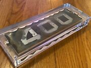 Antique '400' Chip Glass Sign Tin Backed House Numbers In Lucite Frame