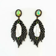 Antique Style Earrings 18k Gold + Silver With Diamonds And Opals