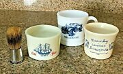 Vintage Ceramic Shave Shaving Scuttle Cups / Mugs Lot Of 3 And Shave Brush