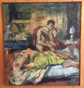 1967 Rosemarie Beck Oil 24x26 - 2 In A Room - Investment Opportunity