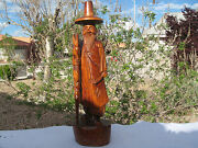 Antique China Hand Wood Carved Chinese Old Man 27.25 H Figurine/sculpture