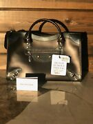 Authentic Black Balenciaga Matte Calfskin And Patent Giant 12 Silver City 2015