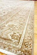 Pre-1900and039s Antique Beige-brown Wool Colors Oushak Area Rug 7x11ft
