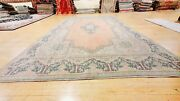 Antique Cr1930-1949's Natural Dye Distressed Wool Pile Oushak Area Rug 8x12ft