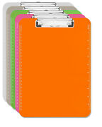 5 Clipboard Multi Pack Clear Smoke Pink Orange And Green 8.5x11 Transparent