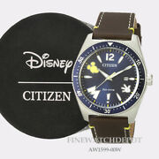 Authentic Citizen Eco-drive Menand039s Disney Mickey Mouse Blue Dial Watch Aw1599-00w