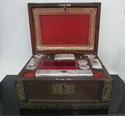 Antique Wood Vanity Jewelry Box Glass W/ Sterling Silver Jars And Key Betty Mono