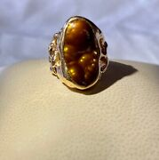 14k Yellow Gold Slaughter Mountain Fire Agate Ring Size 6 1/4 11.5 Grams