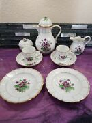 Meissen First Quality Violets Tea/ Coffee Set 11 Peices . Rare