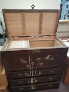 Vintage Handmade Teak And Sandalwood Blanket Chest On Drawers W/ Mop Inlay Signed