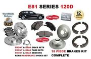 For Bmw 120d 2007-2012 Front And Rear Brake Discs Set And Pads Kit And Sensor And Shoes