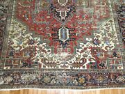 Antique Worn Heriz Rug 8and0392and039and039x10and0398and039and039