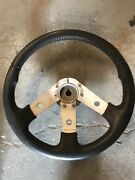 Vintage Dino Made In Italy 3 Lower Spoke Steering Wheel. Leather Wrapped. Marine