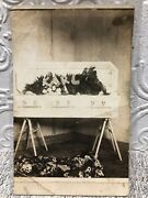 Vintage Rppc Real Photo Postcard Post Mortem Baby In Coffin
