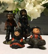 Cast Iron Vintage Pioneer Amish Figures Man And Women And Sitting Little Boy And Girl