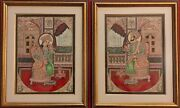 Hand Painted Shah Jahan And Mumtaz Miniature Painting India Framed Artwork